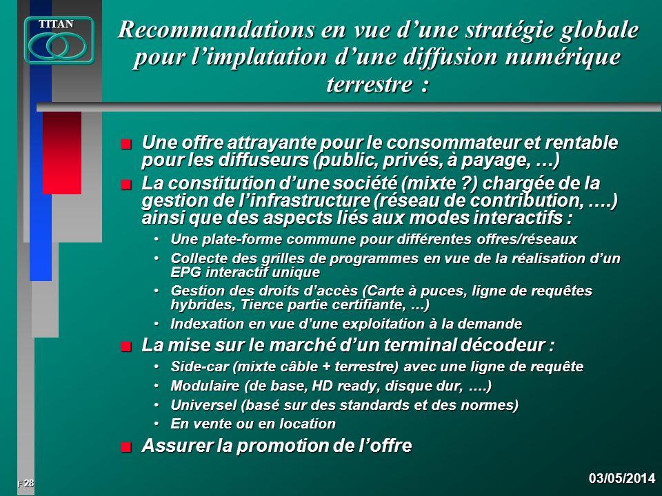 28 FTITAN03/05/2014 Recommandations en vue dune stratégie globale pour limplatation dune diffusion numérique terrestre : n Une offre attrayante pour l