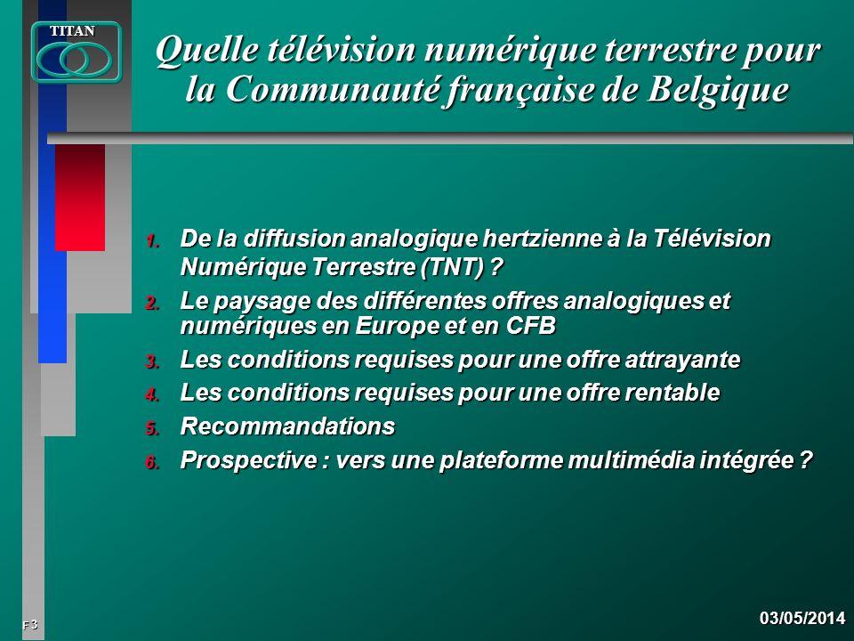 3 FTITAN03/05/2014 Quelle télévision numérique terrestre pour la Communauté française de Belgique 1. De la diffusion analogique hertzienne à la Télévi