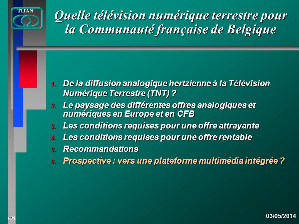 31 FTITAN03/05/2014 Quelle télévision numérique terrestre pour la Communauté française de Belgique 1. De la diffusion analogique hertzienne à la Télév