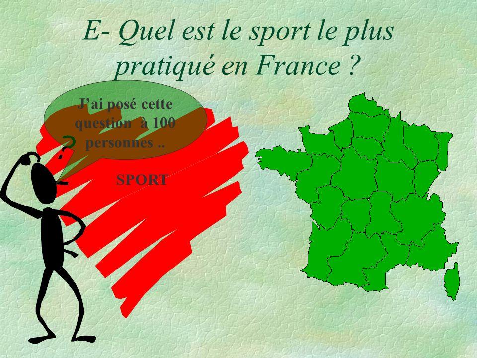 E- Quel est le sport le plus pratiqué en France ? SPORT Jai posé cette question à 100 personnes..