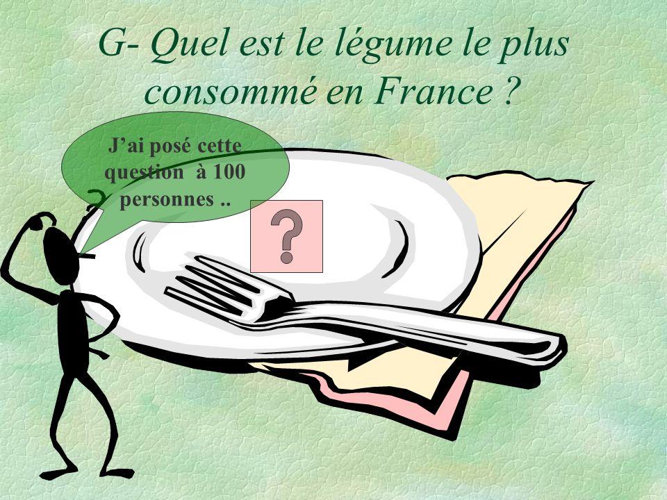 G- Quel est le légume le plus consommé en France ? Jai posé cette question à 100 personnes..