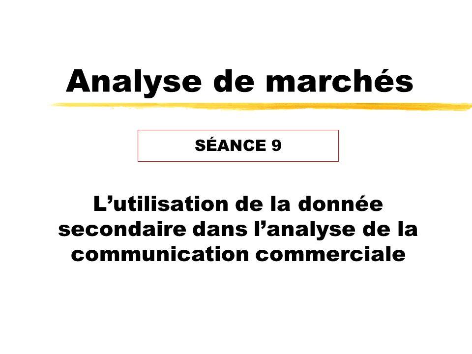 Analyse de marchés Lutilisation de la donnée secondaire dans lanalyse de la communication commerciale SÉANCE 9