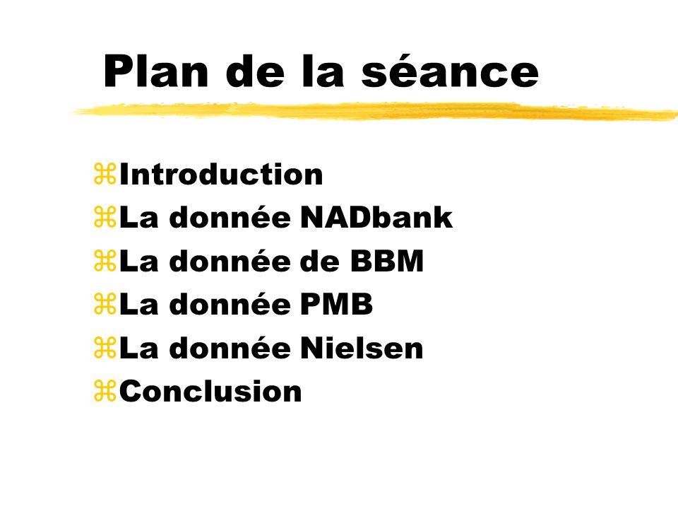 Plan de la séance zIntroduction zLa donnée NADbank zLa donnée de BBM zLa donnée PMB zLa donnée Nielsen zConclusion