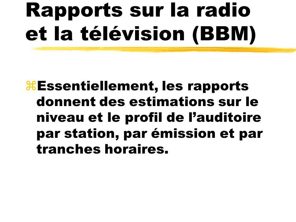 Rapports sur la radio et la télévision (BBM) zEssentiellement, les rapports donnent des estimations sur le niveau et le profil de lauditoire par stati