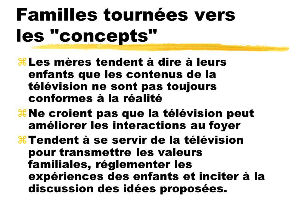 zLes mères tendent à dire à leurs enfants que les contenus de la télévision ne sont pas toujours conformes à la réalité zNe croient pas que la télévis