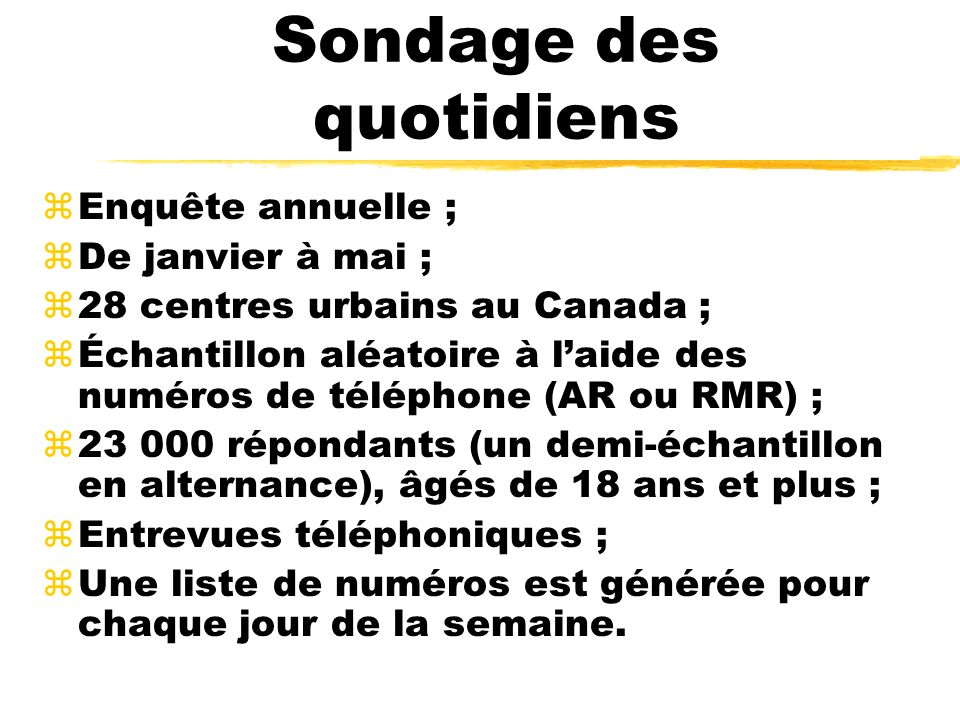 Sondage des quotidiens zEnquête annuelle ; zDe janvier à mai ; z28 centres urbains au Canada ; zÉchantillon aléatoire à laide des numéros de téléphone