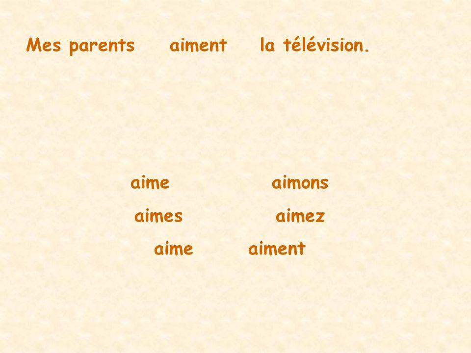 Mes parentsaimentla télévision. aimeaimons aimesaimez aimeaiment