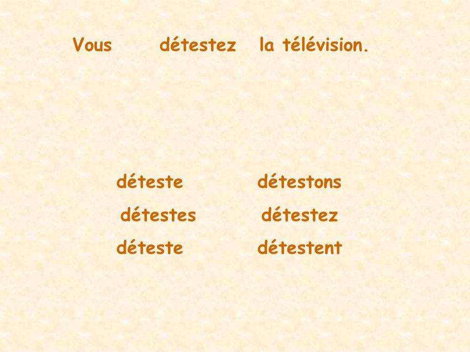 Vousdétestezla télévision. détestedétestons détestesdétestez détestedétestent