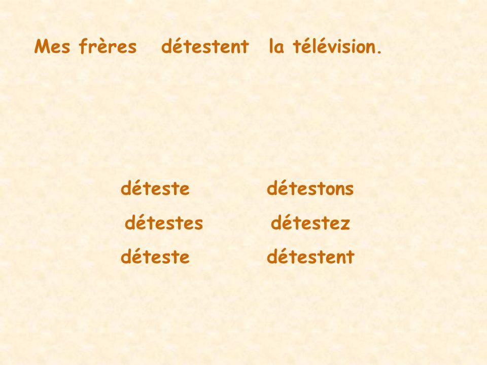 Mes frèresdétestentla télévision. détestedétestons détestesdétestez détestedétestent