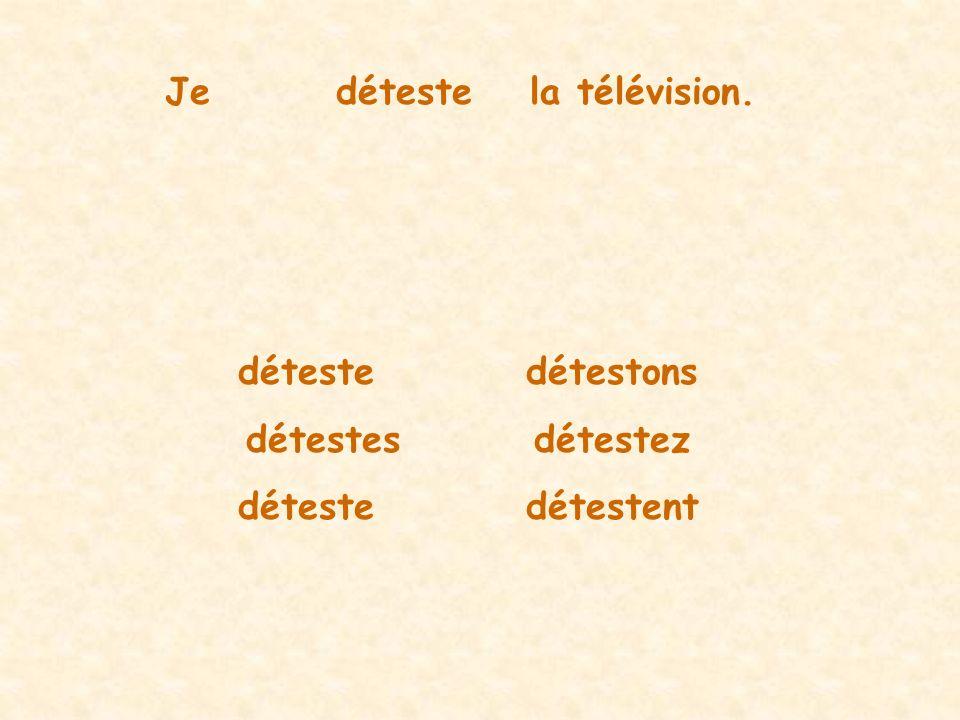 Jedétestela télévision. détestedétestons détestesdétestez détestedétestent