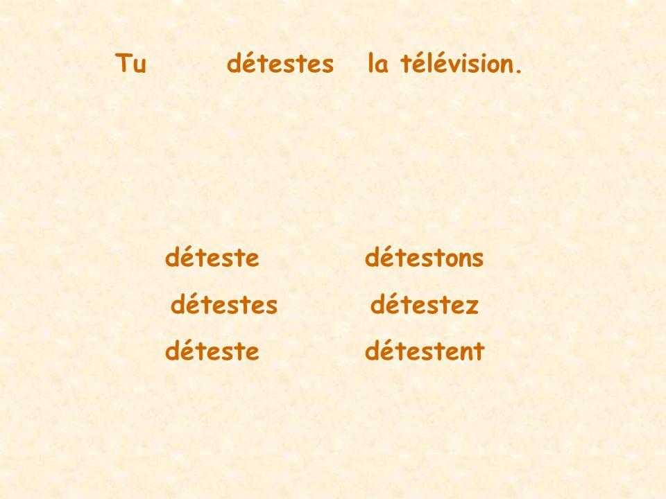 Tudétestesla télévision. détestedétestons détestesdétestez détestedétestent