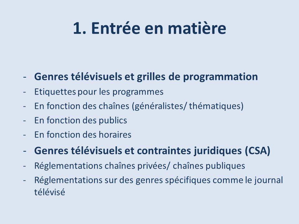 1. Entrée en matière -Genres télévisuels et grilles de programmation -Etiquettes pour les programmes -En fonction des chaînes (généralistes/ thématiqu