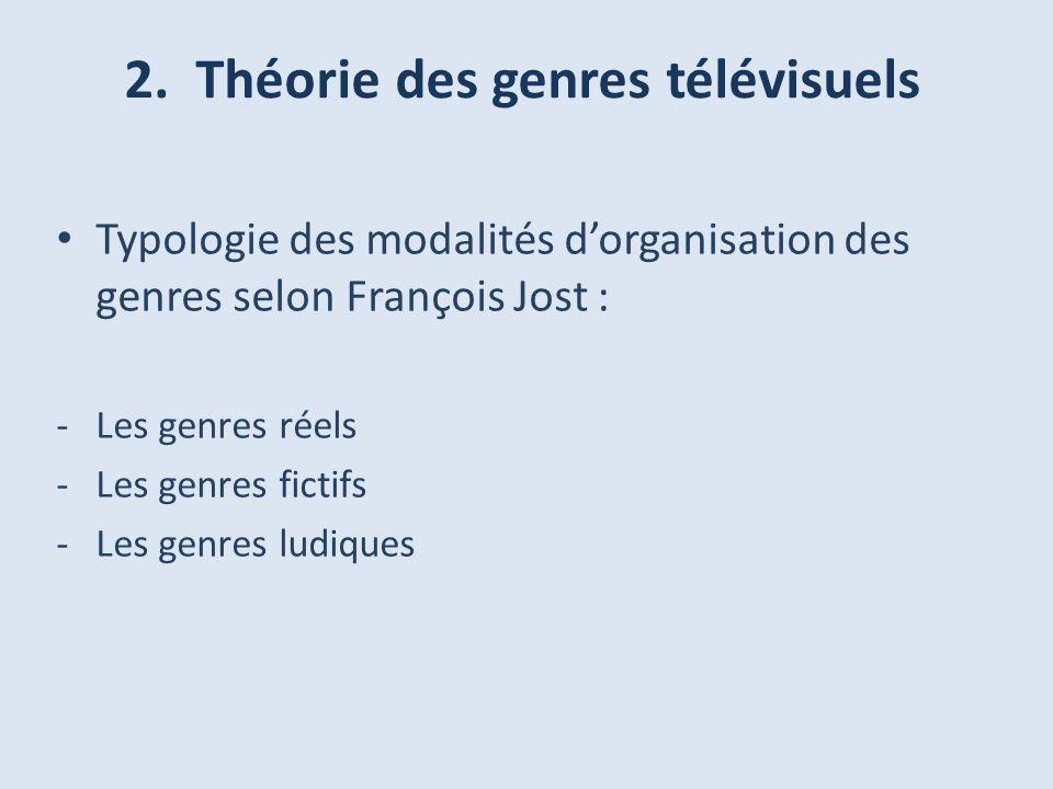 2. Théorie des genres télévisuels Typologie des modalités dorganisation des genres selon François Jost : -Les genres réels -Les genres fictifs -Les ge
