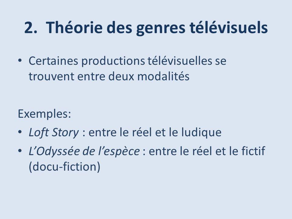 2. Théorie des genres télévisuels Certaines productions télévisuelles se trouvent entre deux modalités Exemples: Loft Story : entre le réel et le ludi