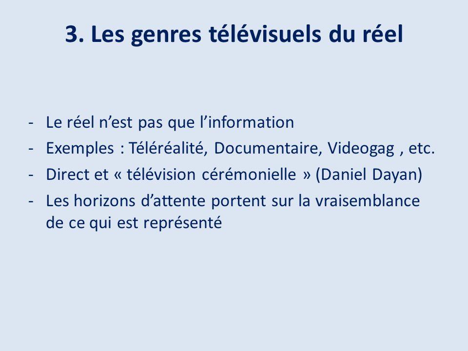 -Le réel nest pas que linformation -Exemples : Téléréalité, Documentaire, Videogag, etc.