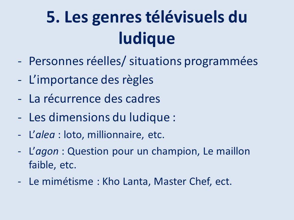 5. Les genres télévisuels du ludique -Personnes réelles/ situations programmées -Limportance des règles -La récurrence des cadres -Les dimensions du l