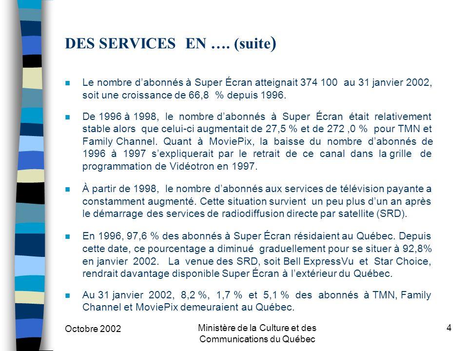 Octobre 2002 Ministère de la Culture et des Communications du Québec 4 DES SERVICES EN ….