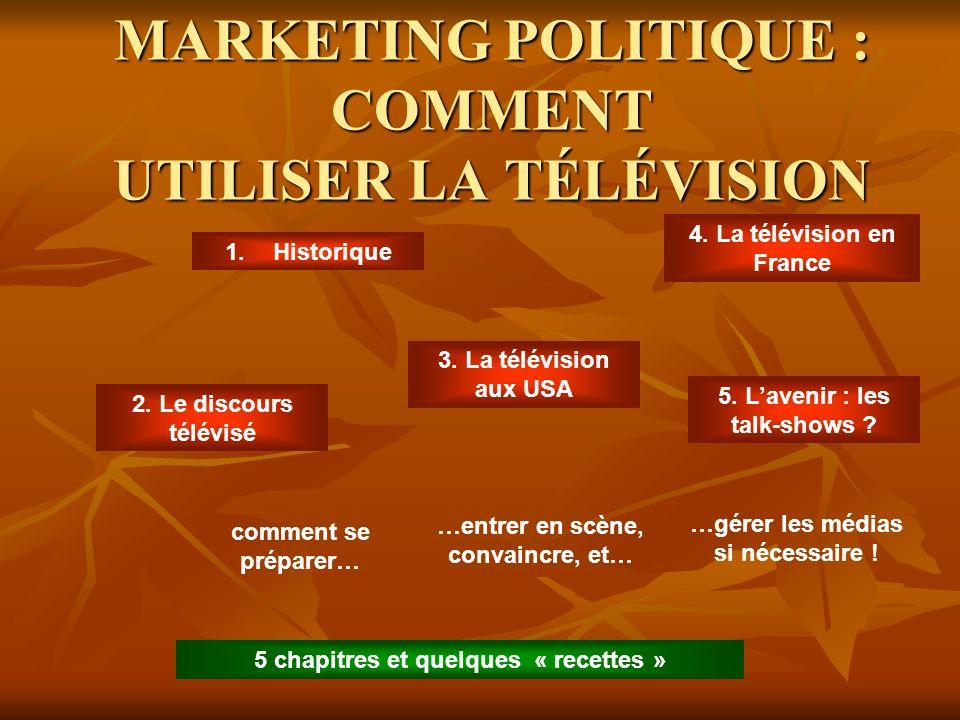 MARKETING POLITIQUE : COMMENT UTILISER LA TÉLÉVISION 1.Historique 4.