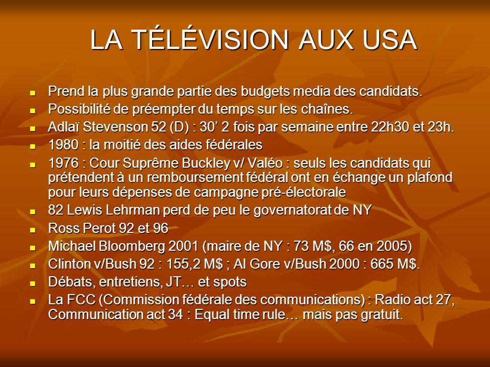 LA TÉLÉVISION AUX USA Prend la plus grande partie des budgets media des candidats.