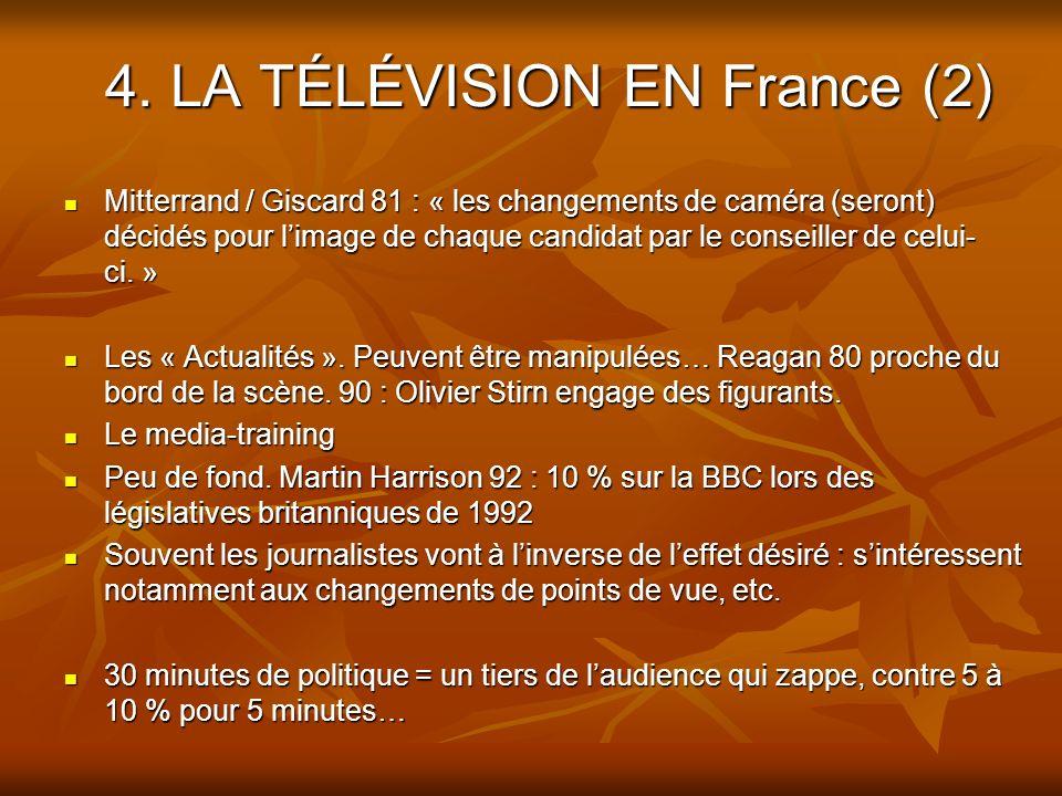 4. LA TÉLÉVISION EN France (2) Mitterrand / Giscard 81 : « les changements de caméra (seront) décidés pour limage de chaque candidat par le conseiller