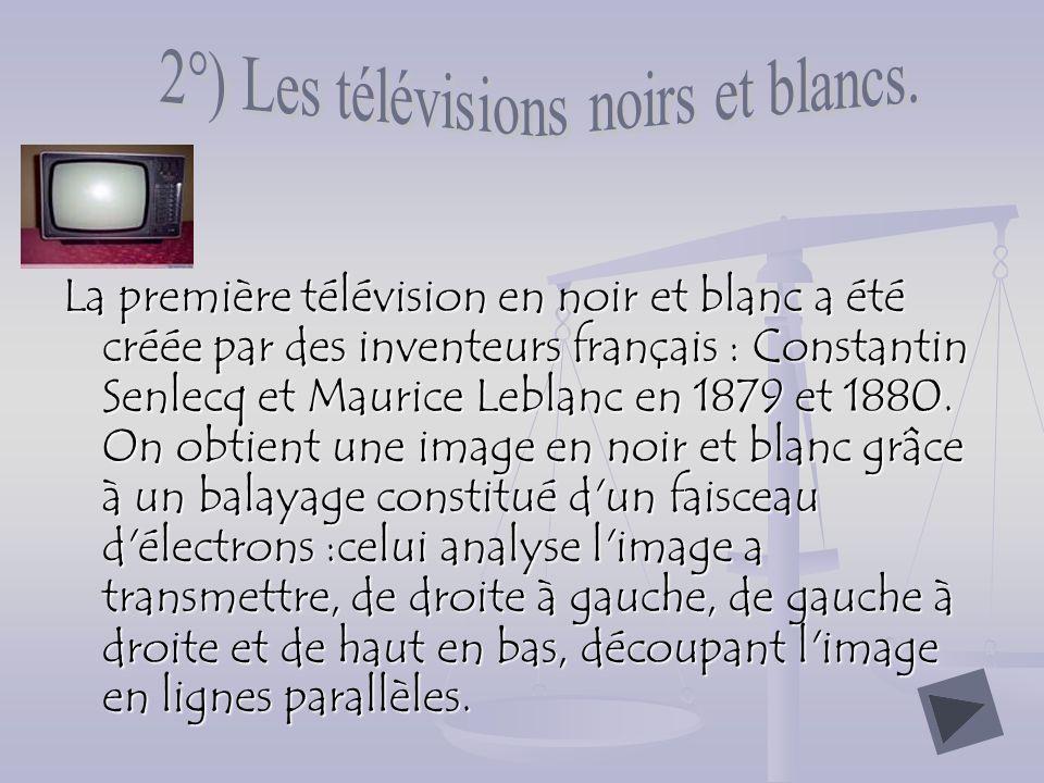 La première télévision en noir et blanc a été créée par des inventeurs français : Constantin Senlecq et Maurice Leblanc en 1879 et 1880.