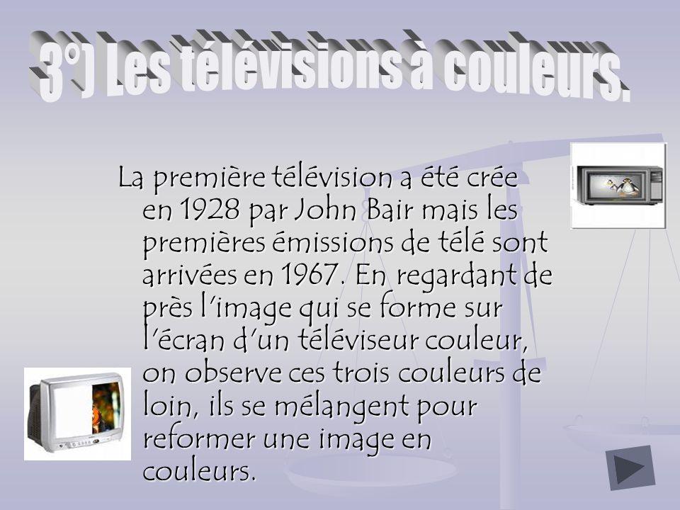 La première télévision a été crée en 1928 par John Bair mais les premières émissions de télé sont arrivées en 1967.