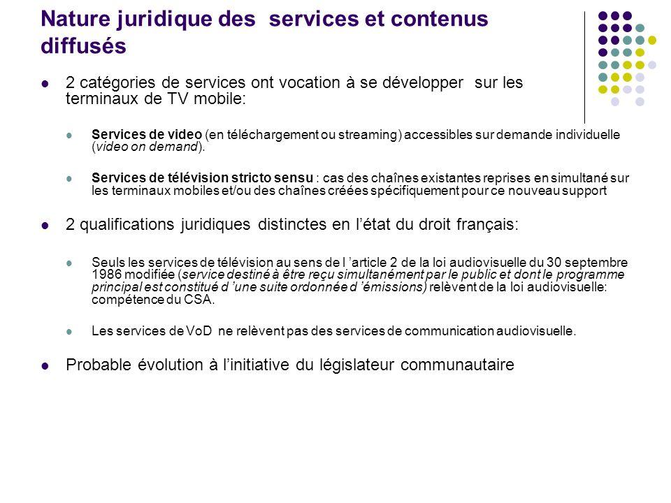 Nature juridique des services et contenus diffusés 2 catégories de services ont vocation à se développer sur les terminaux de TV mobile: Services de v