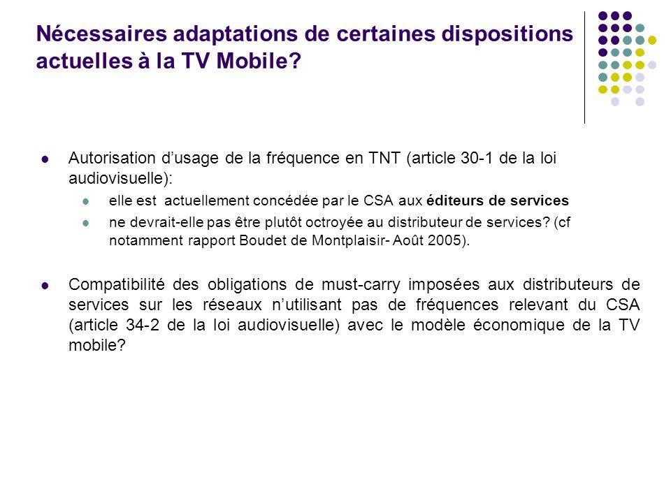 Nécessaires adaptations de certaines dispositions actuelles à la TV Mobile? Autorisation dusage de la fréquence en TNT (article 30-1 de la loi audiovi