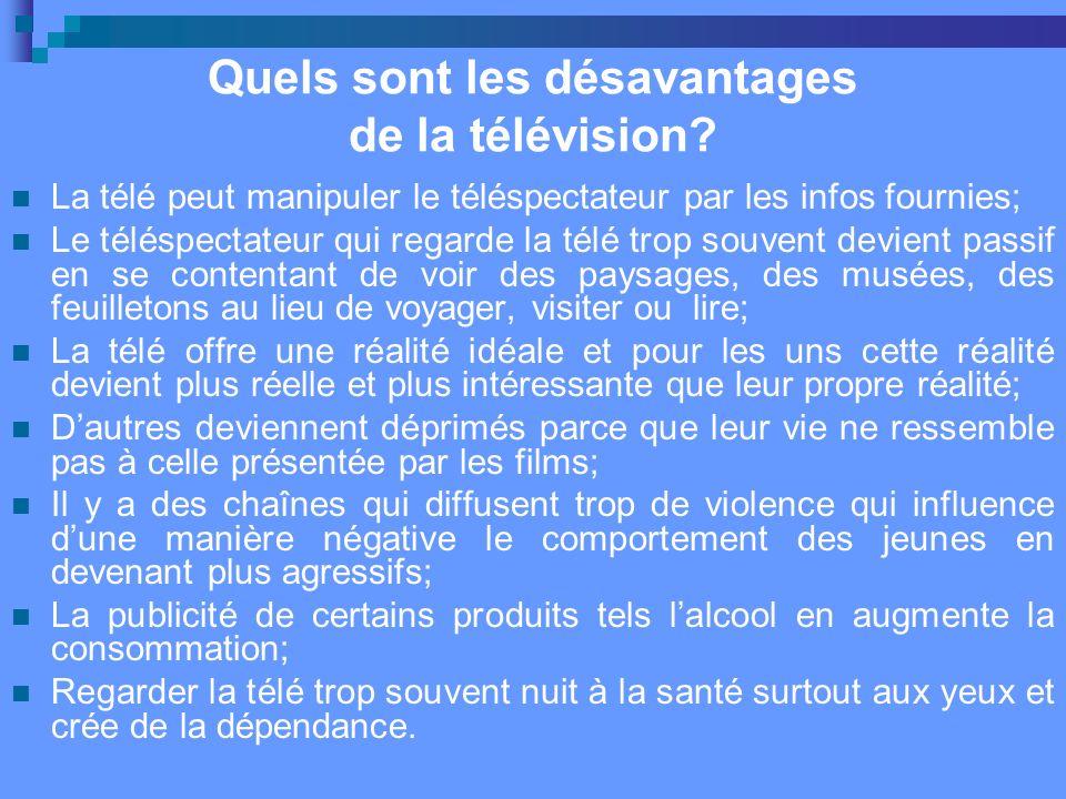 Quels sont les désavantages de la télévision.