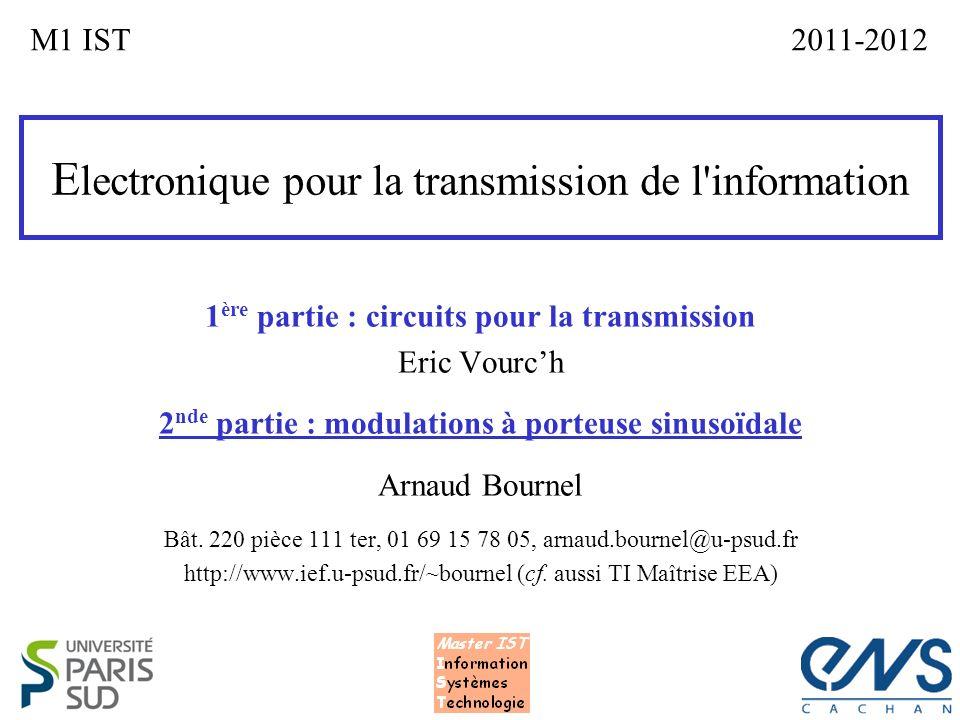 E lectronique pour la transmission de l'information 1 ère partie : circuits pour la transmission Eric Vourch 2 nde partie : modulations à porteuse sin
