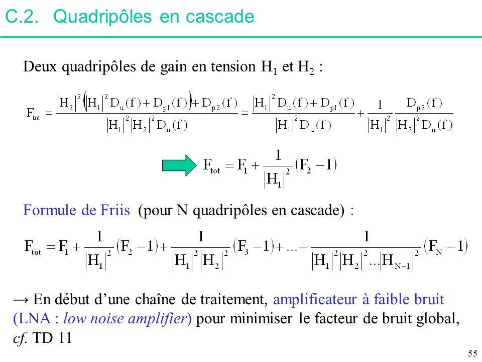 C.2.Quadripôles en cascade. Deux quadripôles de gain en tension H 1 et H 2 : En début dune chaîne de traitement, amplificateur à faible bruit (LNA : l