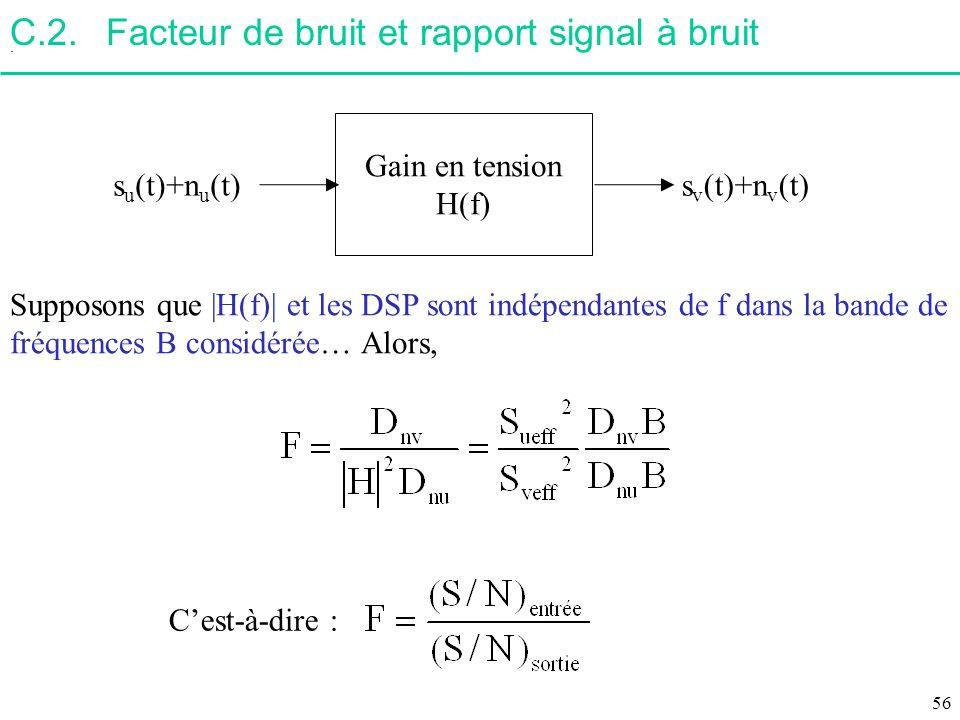C.2.Facteur de bruit et rapport signal à bruit. Supposons que |H(f)| et les DSP sont indépendantes de f dans la bande de fréquences B considérée… Alor