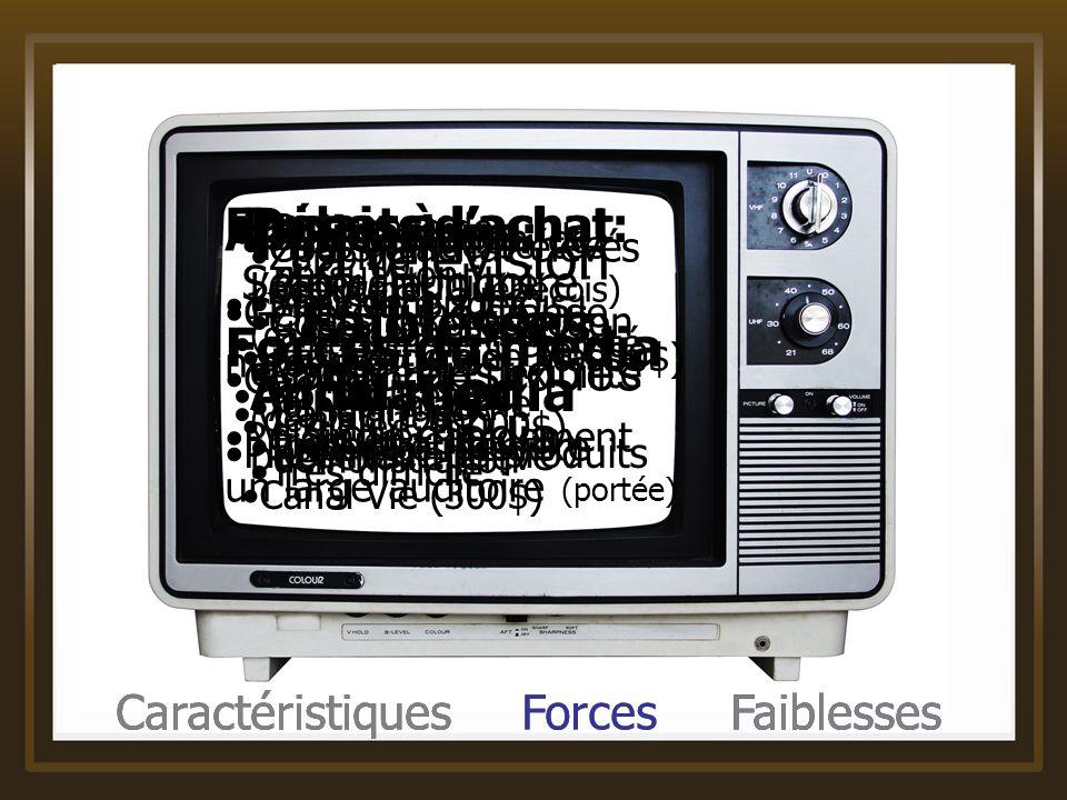 Caractéristiques Forces Faiblesses La télévision Caractéristiques du média Applications: Générer une grande notoriété Rejoindre rapidement un large au