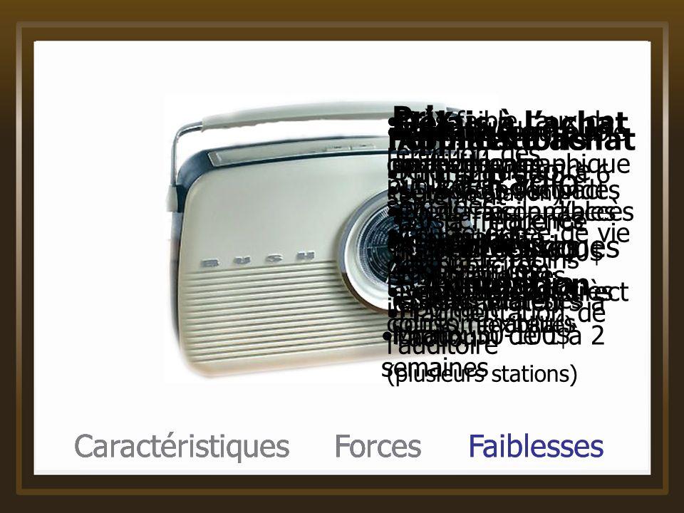 Caractéristiques Forces Faiblesses La Radio Caractéristiques du média Applications Créer de limpact par la fréquence Pousser les consommateurs à lacti