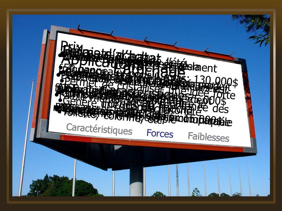 Caractéristiques Forces Faiblesses Laffichage Caractéristiques du média Formats dachat Panneau extérieur (divers format) Transport en commun Toilette,
