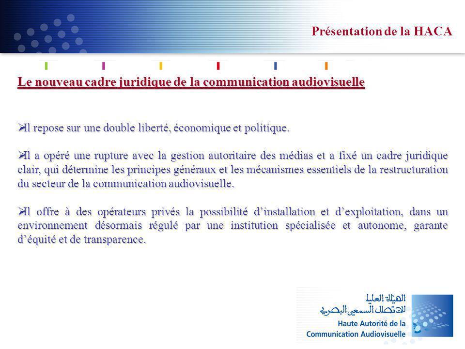 Le nouveau cadre juridique de la communication audiovisuelle Il repose sur une double liberté, économique et politique. Il repose sur une double liber