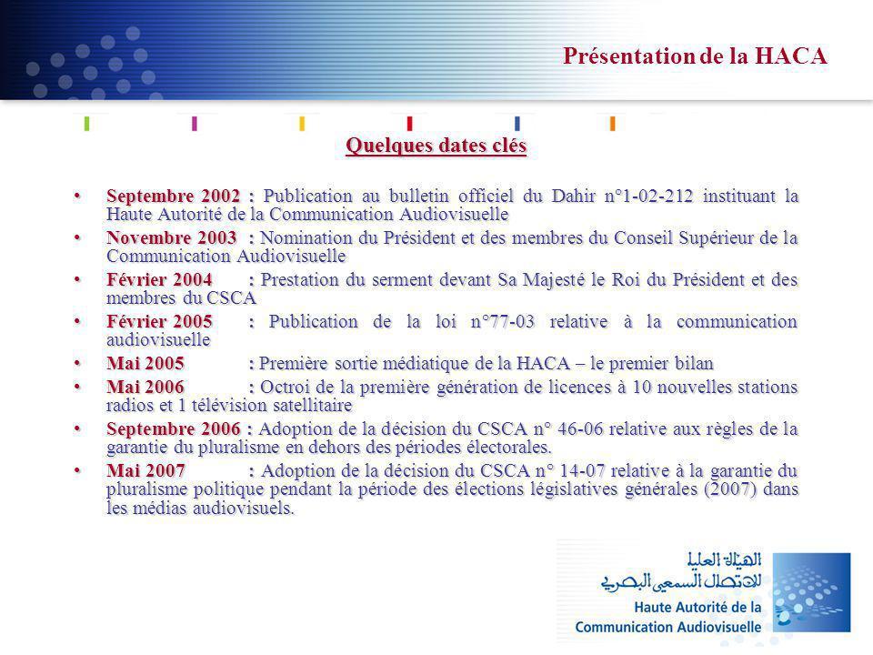 Présentation de la HACA Quelques dates clés Septembre 2002 : Publication au bulletin officiel du Dahir n°1-02-212 instituant la Haute Autorité de la C