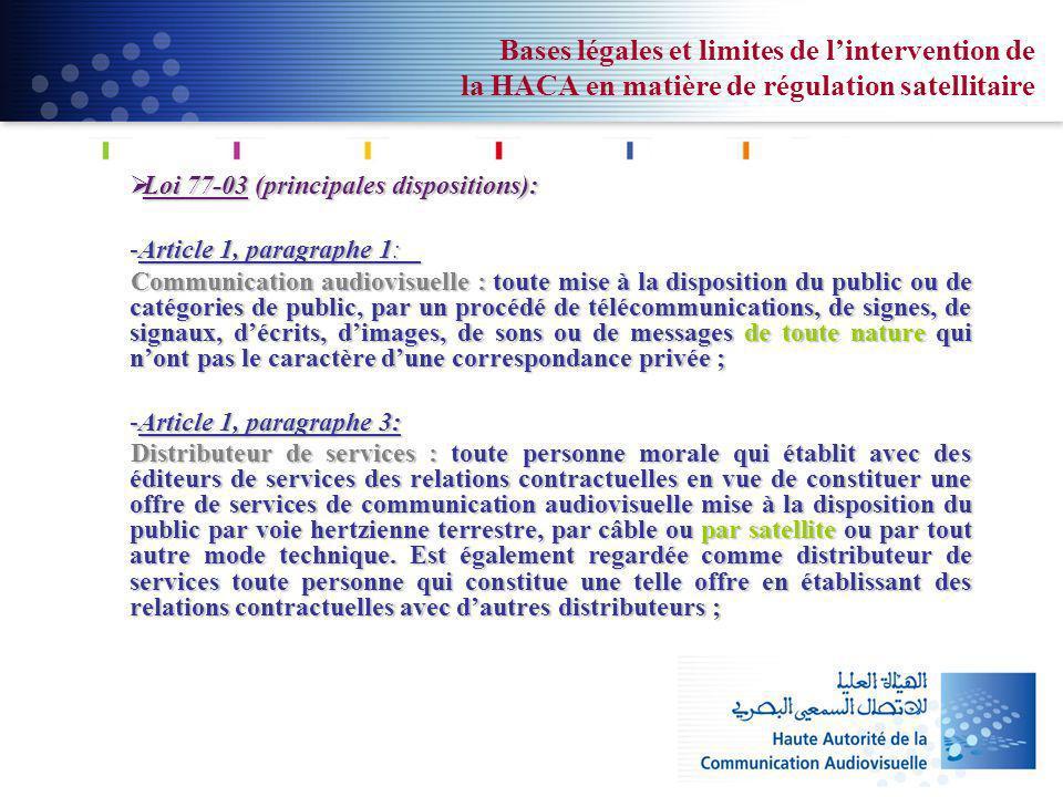 Bases légales et limites de lintervention de la HACA en matière de régulation satellitaire Loi 77-03 (principales dispositions): Loi 77-03 (principale