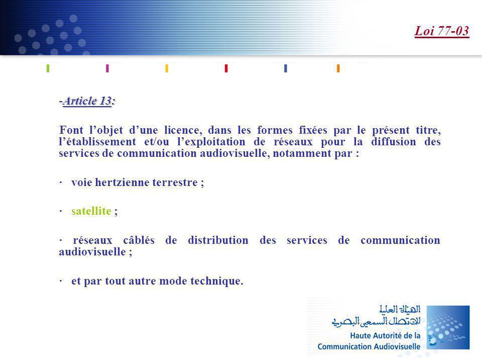 Loi 77-03 -Article 13: -Article 13: Font lobjet dune licence, dans les formes fixées par le présent titre, létablissement et/ou lexploitation de résea