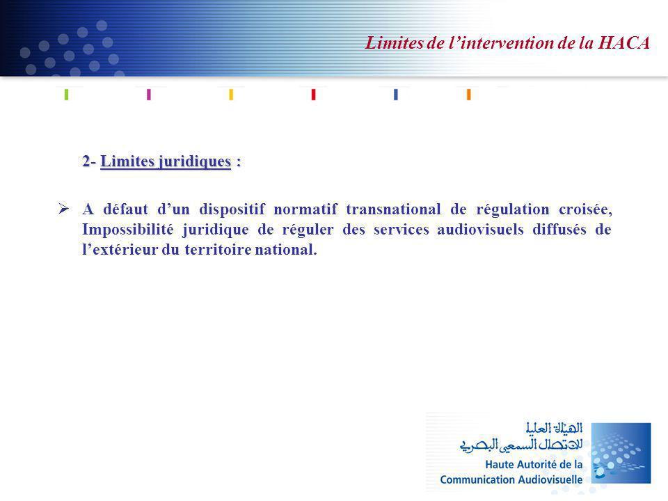 Limites de lintervention de la HACA 2- Limites juridiques : A défaut dun dispositif normatif transnational de régulation croisée, Impossibilité juridique de réguler des services audiovisuels diffusés de lextérieur du territoire national.