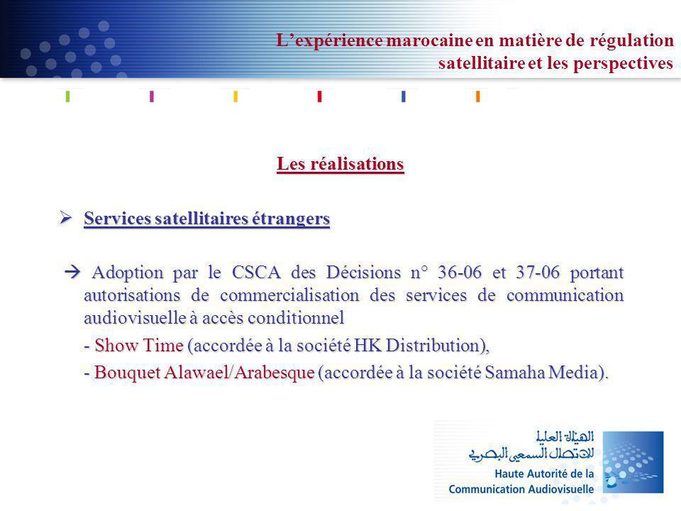 Lexpérience marocaine en matière de régulation satellitaire et les perspectives Les réalisations Services satellitaires étrangers Services satellitair