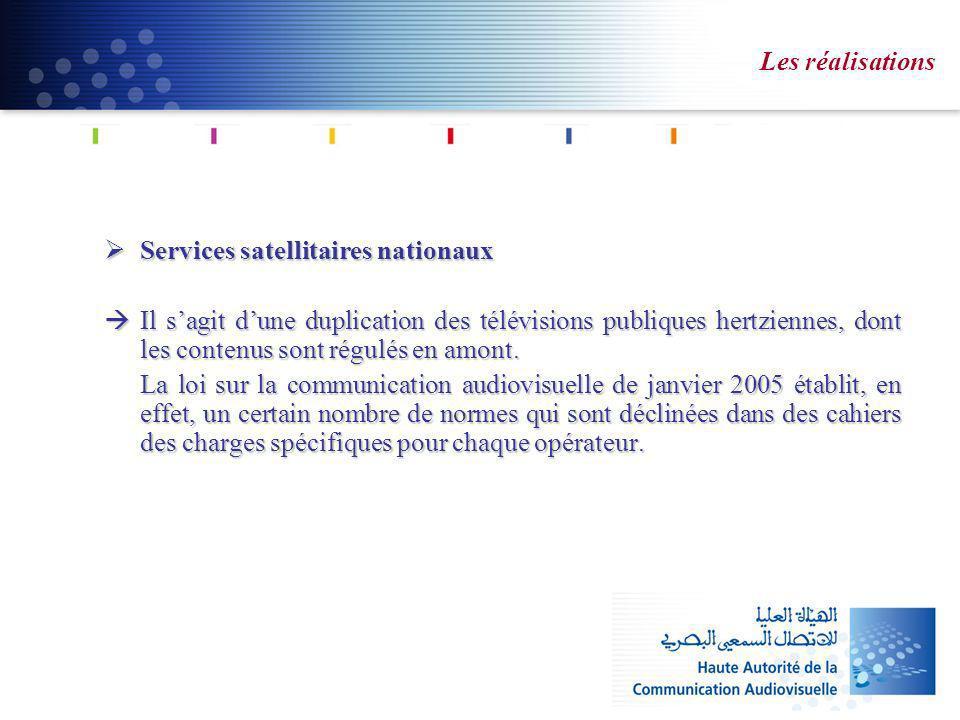 Les réalisations Services satellitaires nationaux Services satellitaires nationaux Il sagit dune duplication des télévisions publiques hertziennes, dont les contenus sont régulés en amont.