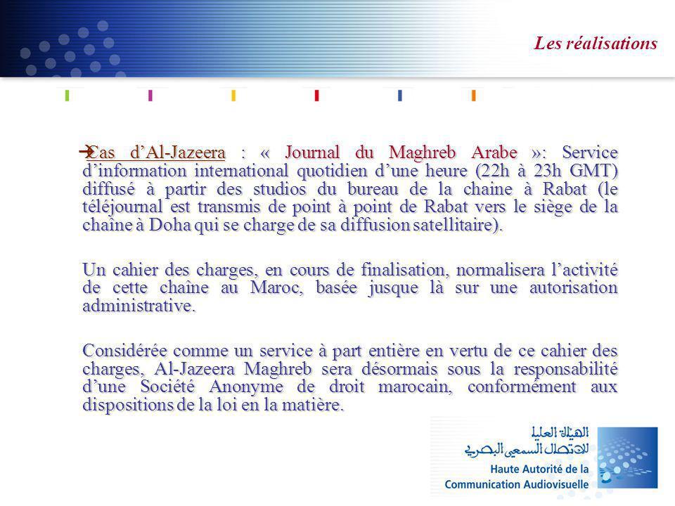 Les réalisations Cas dAl-Jazeera : « Journal du Maghreb Arabe »: Service dinformation international quotidien dune heure (22h à 23h GMT) diffusé à par