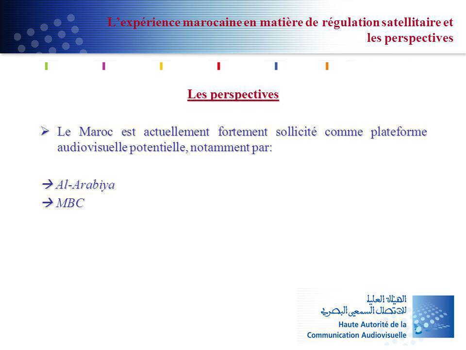Lexpérience marocaine en matière de régulation satellitaire et les perspectives Les perspectives Le Maroc est actuellement fortement sollicité comme p