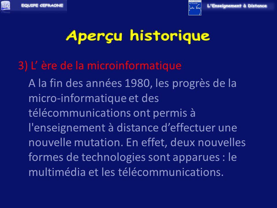 3) L ère de la microinformatique A la fin des années 1980, les progrès de la micro-informatique et des télécommunications ont permis à l enseignement à distance deffectuer une nouvelle mutation.