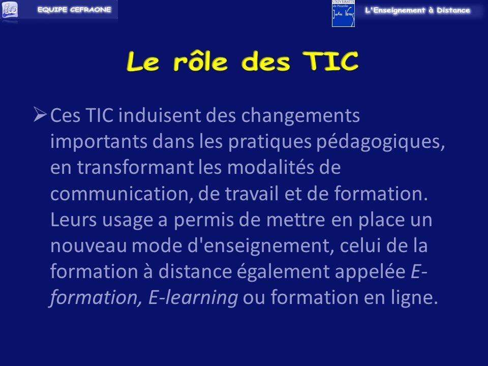Ces TIC induisent des changements importants dans les pratiques pédagogiques, en transformant les modalités de communication, de travail et de formation.
