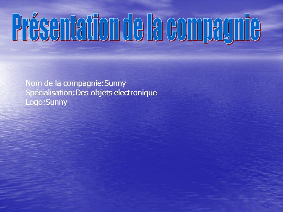 Nom de la compagnie:Sunny Spécialisation:Des objets electronique Logo:Sunny