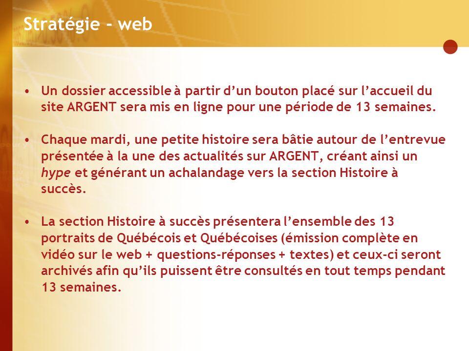 Stratégie - web Un dossier accessible à partir dun bouton placé sur laccueil du site ARGENT sera mis en ligne pour une période de 13 semaines.
