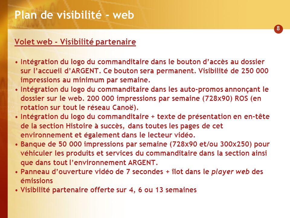 8 Plan de visibilité - web Volet web - Visibilité partenaire Intégration du logo du commanditaire dans le bouton daccès au dossier sur laccueil dARGENT.