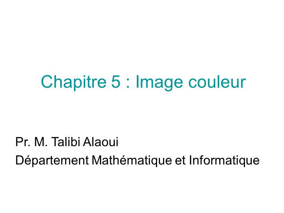 Chapitre 5 : Image couleur Pr. M. Talibi Alaoui Département Mathématique et Informatique